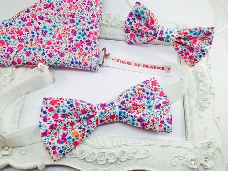 Noeuds papillon, Set Serre tete, Noeud Papillon et Pochette costume est une création orginale de FleursdeProvence sur DaWanda