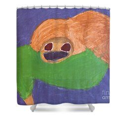 Patrick Francis - Shower Curtain featuring the painting Otter 2014 by Patrick Francis