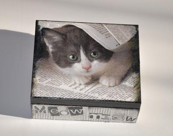 Boîte avec le chat boîte bijoux boîte à thé boîte par AgaArtFactory