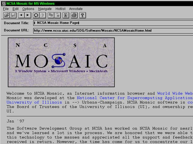 The NCSA Mosaic browser, the first widely and publicly available web browser.