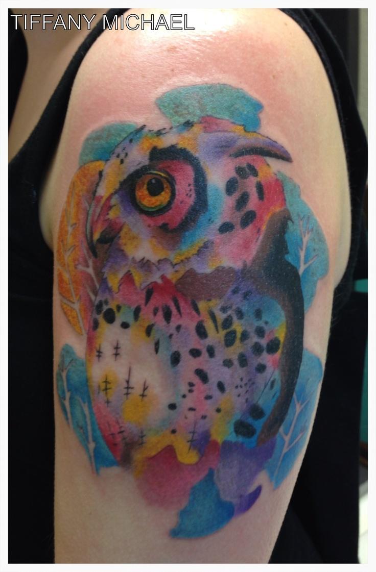 Watercolor Owl Tattoo Tattoos I Did Pinterest