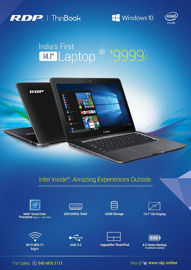 RDP Laptop comes with Intel x5 processor and 2GB RAM, 32GB storage RDP Laptop are with 1366 x 768 pixels software and due to high USB 3.0 speed, it allows data transfer speed 10 times faster than USB 2.0 and Power consumption is less in RDP Laptops.
