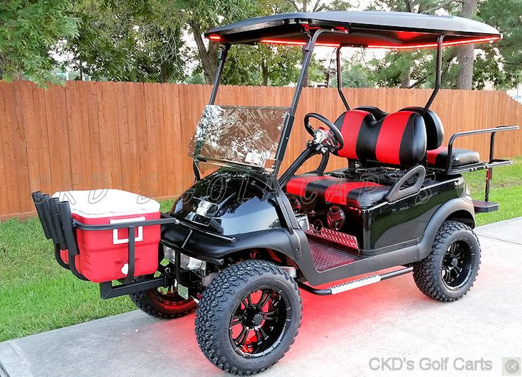 Combination golf cart cooler rack and fishing pole holder from CKD Golf Carts