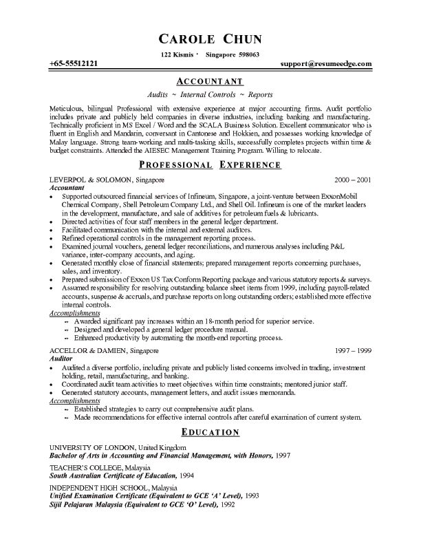 standard resume format for accountant resume format choose