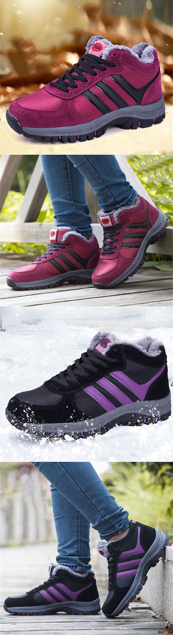 Winter Sport Stripe Fur Lining Lace Up Boots For Women. Warm and comfy. Shop at banggood with super affordable price.