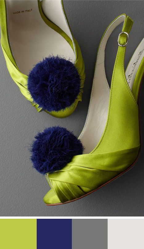 Spunky chartreuse and navy heels. Found on bhldn #colorpalette #chartreuse #weddingshoes