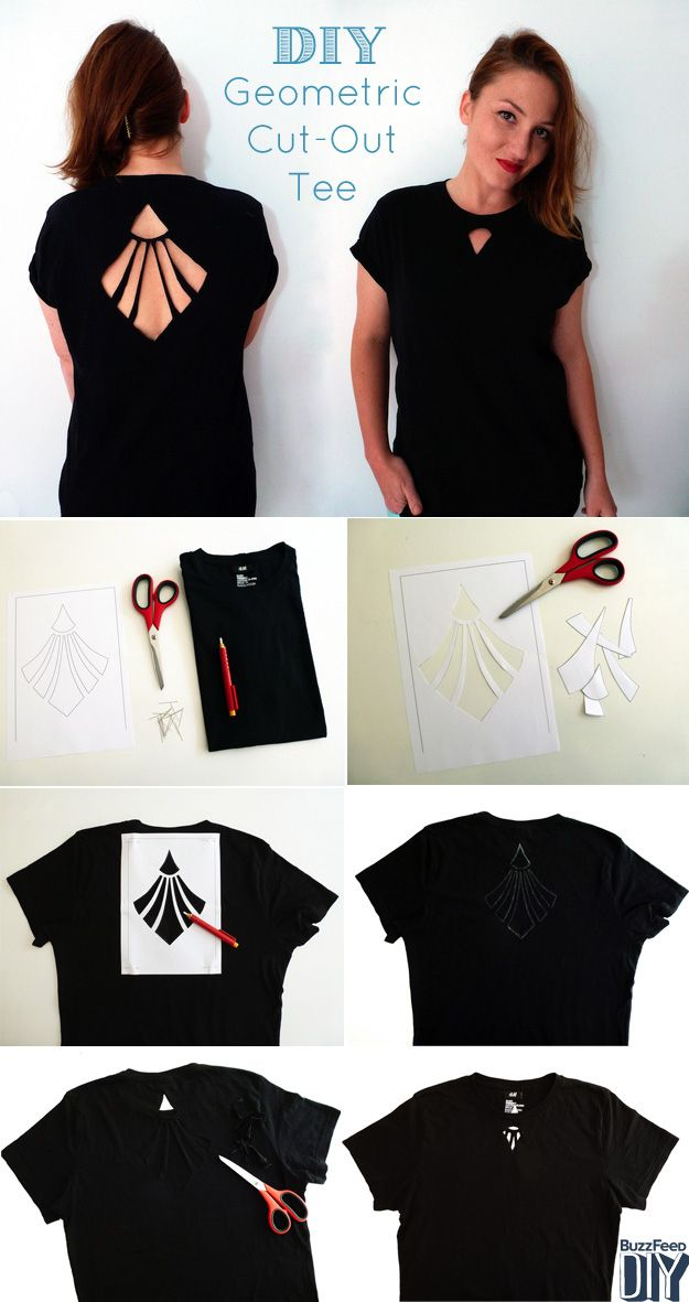 2 Cool New Ways To Cut Up A T-Shirt... link for the How-to:    http://www.buzzfeed.com/pippa/2-cool-new-ways-to-cut-up-a-t-shirt?s=mobile        ** the main thing I would do differently is draw/print pattern on freezers paper (non shiny side), then iron on shirt.. place cutting mat inside shirt & use a craft knife to cut it out... this would be more efficient. ~ Ruth **