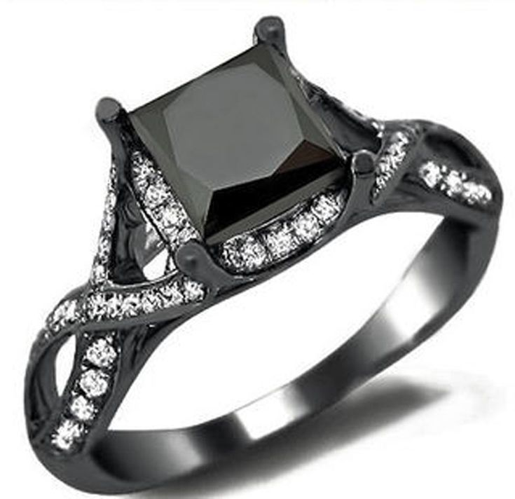 black stone wedding ring - Black Wedding Rings For Women