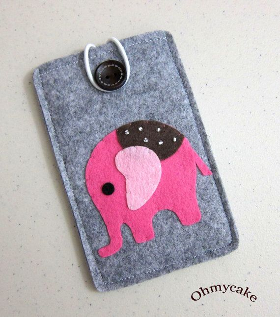"iPhone Case - Cell Phone Case - iPhone 4 Case - iPod Case - iPod Touch Case - Handmade iPhone Felt Case - "" Pink Elephant "" Design. $18.00, via Etsy."