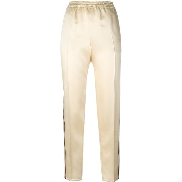 Gucci web-trimmed trousers ($1,100) ❤ liked on Polyvore featuring pants, gucci, sports pants, sports trousers, pink pants and sport pants