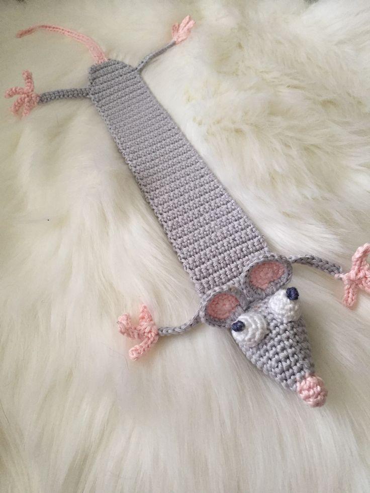 crochet haken amigurumi boekenlegger muis