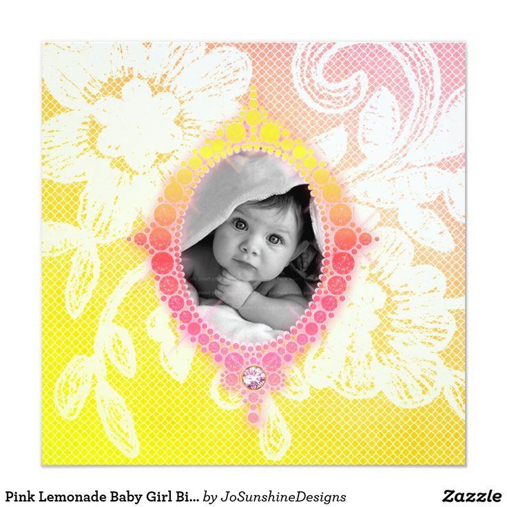 Pink Lemonade Baby Girl Birth Announcement Invite