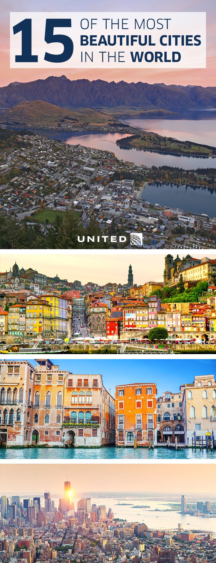 15 of the most beautiful cities in the world    Queenstown, New Zealand   Porto, Portugal   Venice, Italy   Manhattan, NY