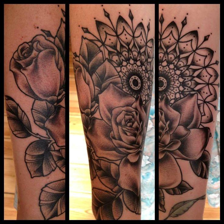 Roses and mandala by Sarah Bolen --- want something like this so bad!!