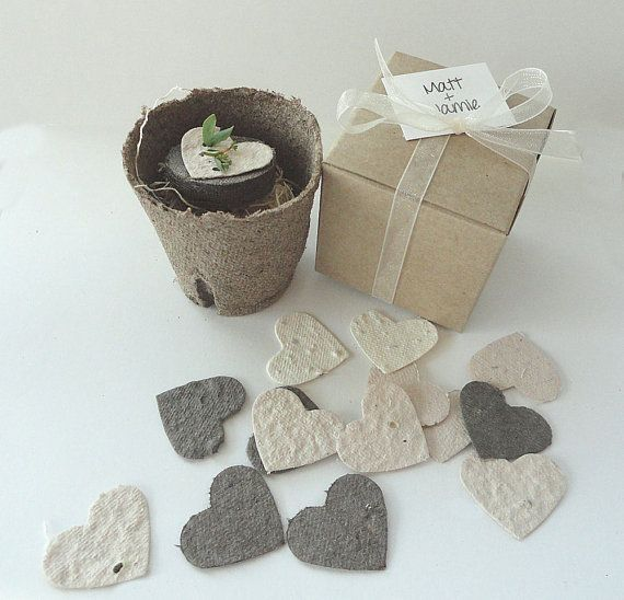Seed Paper Hearts cream white ivory brown diy door naturefavors