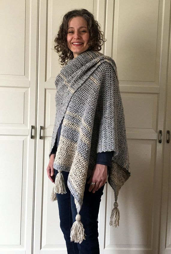 Crochet Wrap Pattern EASY Crochet Blanket Wrap Ruana Poncho Fascinating Crochet Ruana Pattern