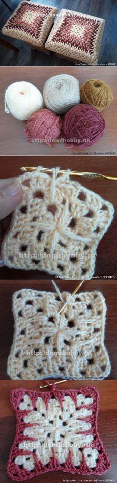 Бабушкин квадрат крючком по-новому. Вяжем красочные чехлы для табуретов, пледы, подушки, коврики.
