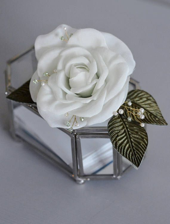 White Rose Hair Clip, Hair Fascinator, vintage rose, bridal hair
