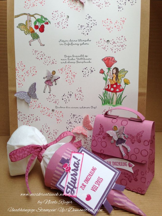Geschenktüte, Mini-Schultüte und Mini-Ranzen mit Produkten von Stampin' Up!, Einfach zauberhaft, Playful Background, Alles Palette