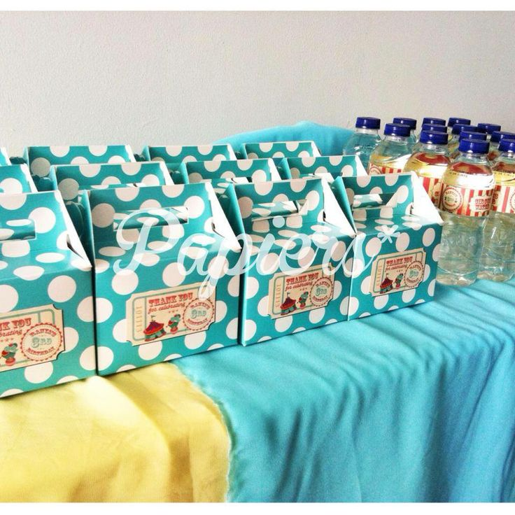 Personalized favor box and mineral water with Vintage Circus themed for Ranya.   Party labels by Papiers*   There's always a reason to celebrate. Cheers, Papiers*  #papiers #event #party #celebration #partyfavor #decoration #partyplanner #partyorganizer #eventplanner #eventorganizer #birthday #wedding #anniversary #engagement #bridalshower #babyshower #caketopper #topper #bunting #clouds #cutecorner #cute #photobooth #polkadot #kids #cute #circus #vintagecircus
