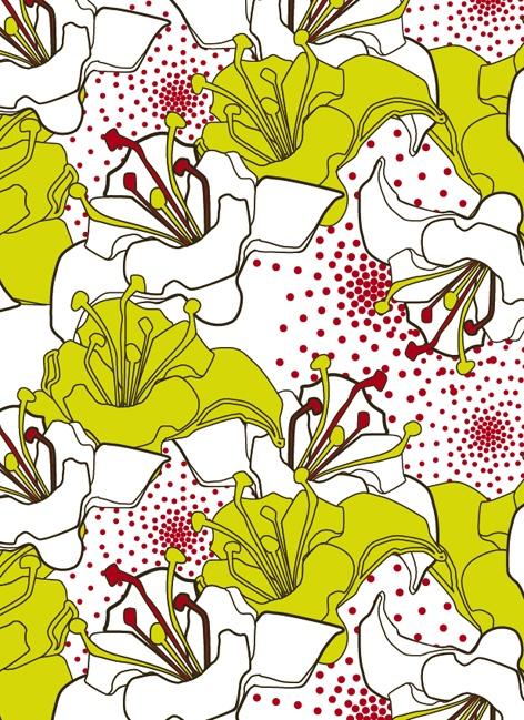 Bathroom wallpaper? Textile pattern design - allover Marlene Dorgny. Lime, maroon, black, white.