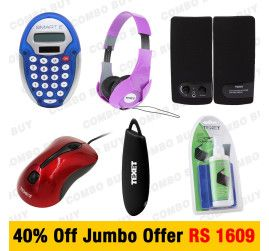 """Buy Power Bank, Headphone, Optical Mouse, USB Speaker, Calculator and Screen Cleaning Kit at 40% off in one package with the """"JumboCombo"""" offer of Shopattack.com. It is a leading e-commerce service provider rendering you """"calculator, Watches, fans, computer accessories and many more items"""". Book your order now."""