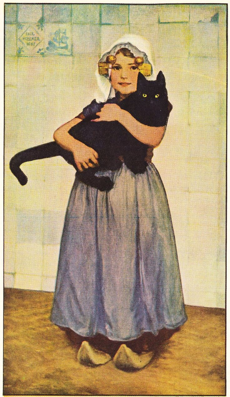 Papergreat: Paul Hoecker's painting of a girl with a large black cat