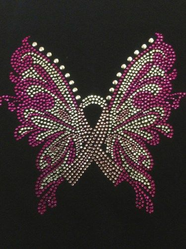 Pink Butterfly Ribbon Cancer Rhinestone Transfer Iron On