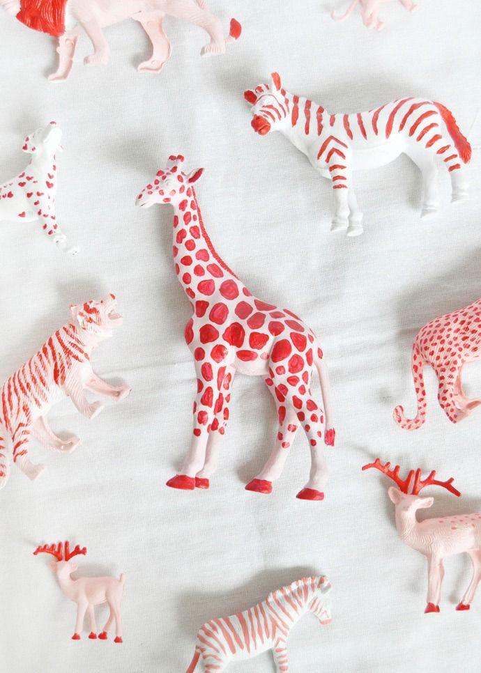 Valentine's Animal Parade - super cute painted plastic animals!