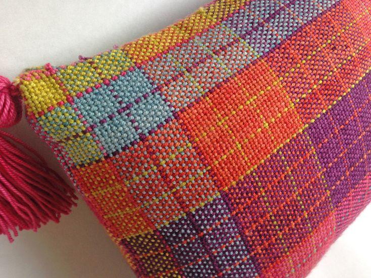 Multiplication Pillow woven in Anzula Cricket on a Schacht Cricket Loom.
