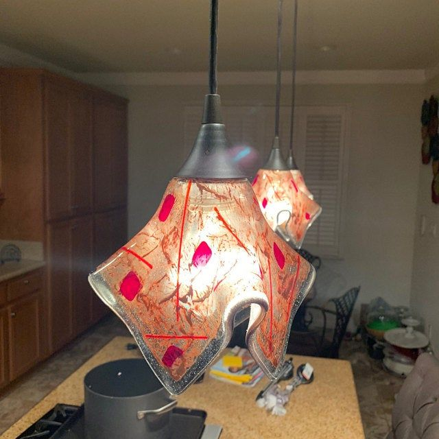 Red And Light Amber Glass 8 Sided Pendant Light Shade Free