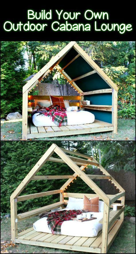 Unwind in your yard with a comfy DIY outside cabana lounge!