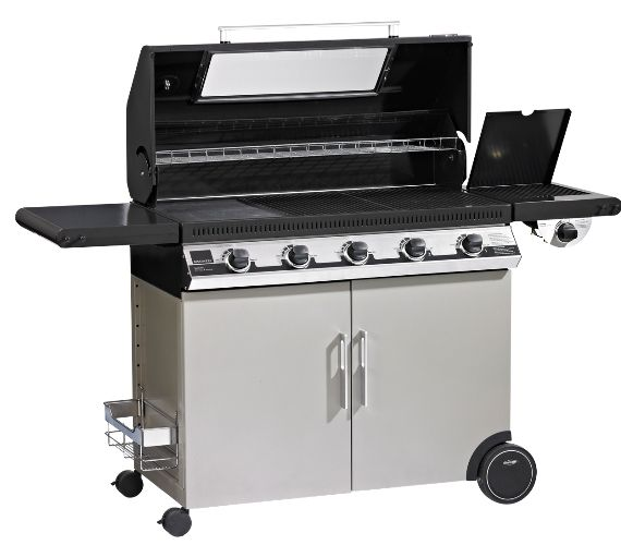 Beefeater Discovery 1100E 5 Burner  From Beefeater's all new Discovery 1100E Series of gas bbqs, come this gem of a 5 Burner. Now with great new features and benefits. This 1100E Series has a window hood and cast-iron grill over the side burner.