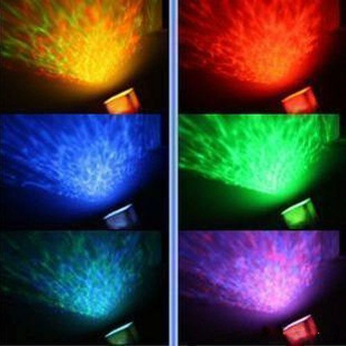 NEW Colorful 12 LED light Relaxing Ocean Sea Wave Projector Pot Speaker
