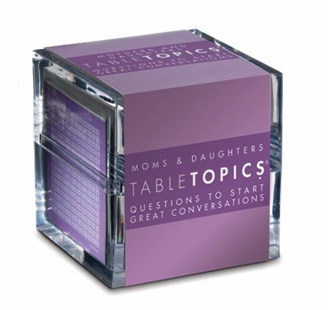 Day 20 of LuxeFind's Ultimate Giveaway is  a gift for Moms and Daughters - Questions to Start Great Conversations    http://luxefinds.com/LuxeLiving/2012/03/23/luxefinds-ultimate-giveaway-tabletopics-mother-daughter-game/Tabletop Mom, Mothers Day, Tabletop Games, Gift Ideas, Daughters Tables, Teen Parties, Tables Topic, Daughters Editing, Mom Daughters