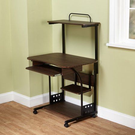 Small Compact Mobile Computer Tower with Shelf Desk Only 10 In Stock Order Today! Product Description: Get the most out of limited space with this black Mobile Computer Tower with Shelf. This steel co