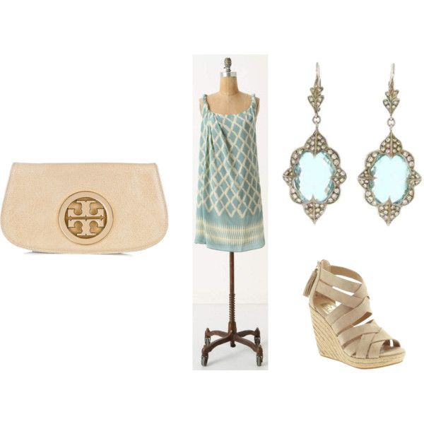 love these colors for summer....I'd ditch the clutch, and swap the heels for casual sandals.