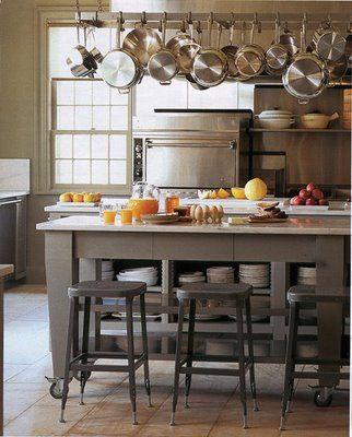 Chic Work Islands - gray cabinets - Martha Stewart