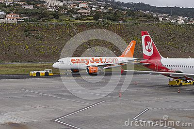 Planes waiting for passengers at the airport of Funchal at Madeira, Portugal