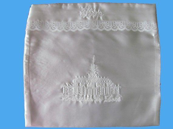 White Satin LDS Temple Clothing Envelope