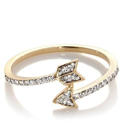 We think this cute gold and diamond arrow ring would look great mixed with some more traditional styles!