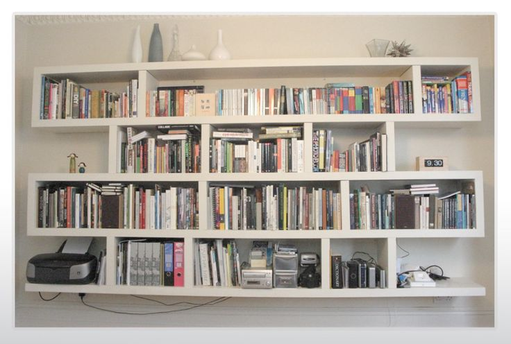 Wall mounted bookshelves designs white wall mounted - Bookshelf design on wall ...