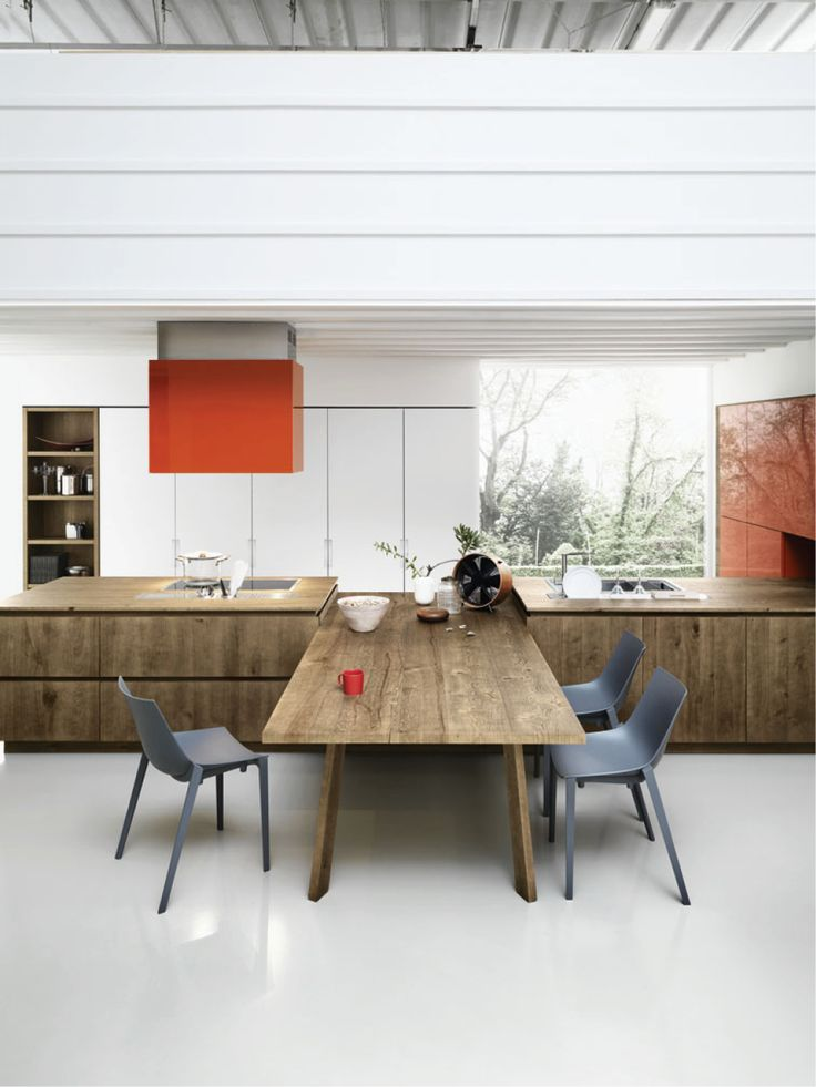Elegant Oak Fitted Kitchen Without Handles CLOE 03 By Cesar Arredamenti