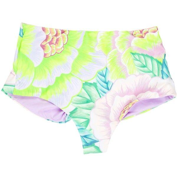 Pre-owned Mara Hoffman High-Rise Swimsuit Bottoms ($75) ❤ liked on Polyvore featuring swimwear, bikinis, bikini bottoms, purple, high rise bikini, high-waisted bathing suits, swimsuits bikini, floral bikini and high waisted bikini