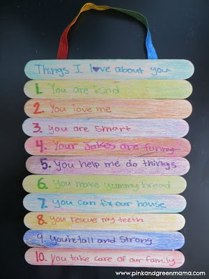 Homemade Father's Day Gift: Top 10 Things I Love About You Popsicle Stick Sign