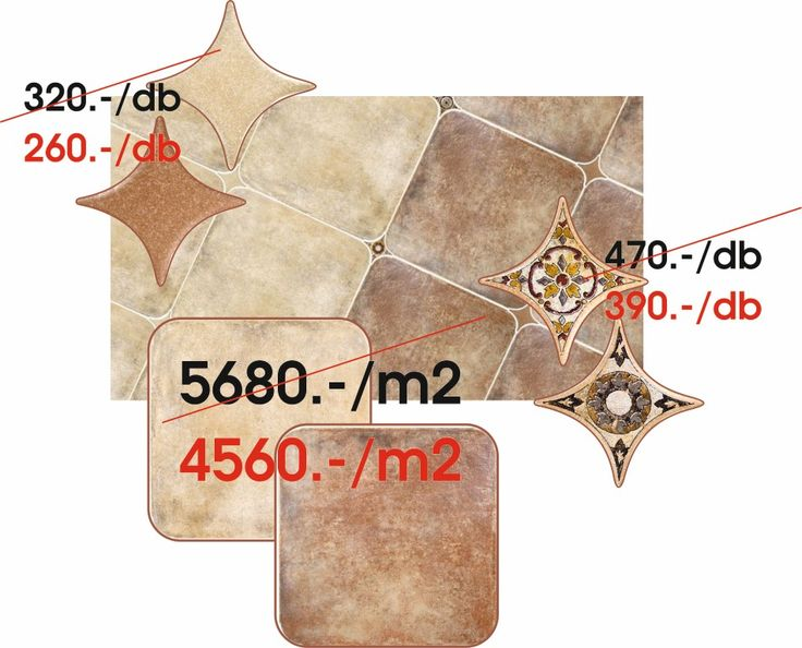 AZULEV(Spanyol) - CUENCA:  Cuenca octogonales beige,terra 45x45 cm padlólap - Estrella cuenca beige 6,7x6,7 cm padló dekor - Estrella trancon beige,terra 6,7x6,7 cm padló dekor