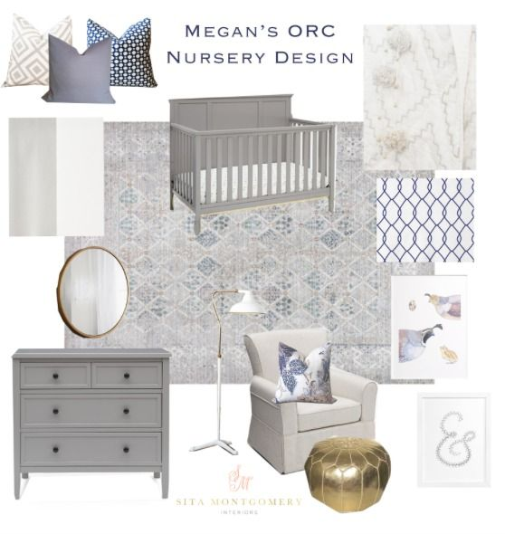 Neutral nursery design with grey crib and dresser pops of for Neutral decor with pops of color