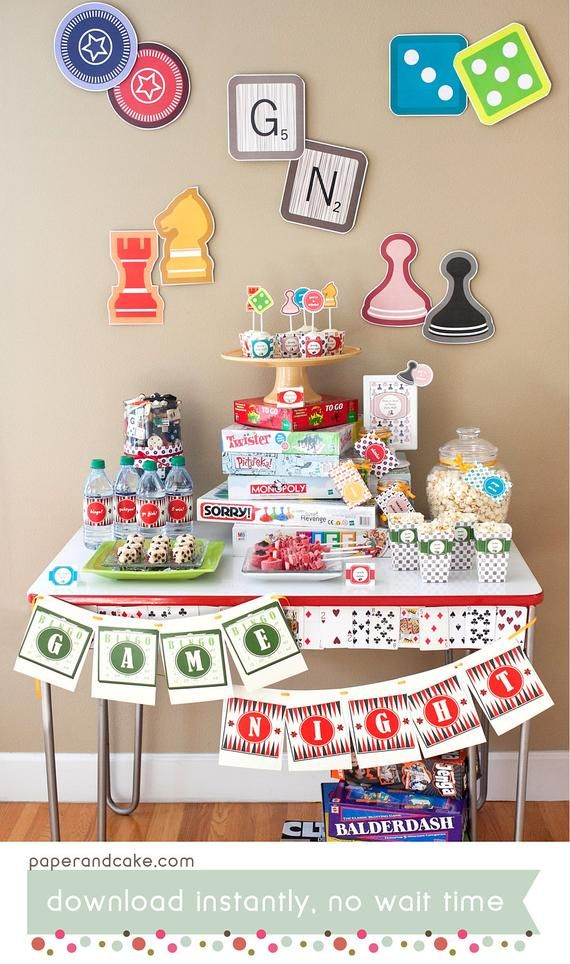 Family Game Night Printable Party Decorations Board Games Etsy Game Night Decorations Game Night Parties Board Game Party
