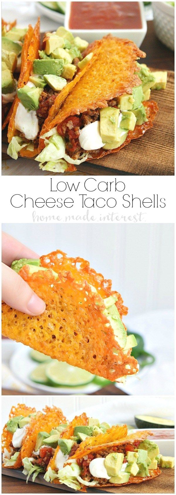Have a low carb taco  Have a low carb taco night with these cheese taco shells made from baked cheddar cheese formed into the shape of a taco! Stuff your low carb taco with ground chorizo and ground beef cooked in Rotel and topped with diced avocado and sour cream.  https://www.pinterest.com/pin/203506476896736155/