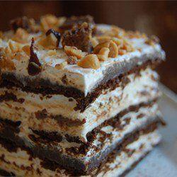 """Десерт """"Горячее мороженое""""Ингредиенты  1 стакан соленого арахиса 500 г шоколадного сиропа ¾ стакана арахисового масла 19 шт бисквитных готовых коржей 400 г взбитых сливок Инструкции  1 Влейте шоколадный сироп в среднюю посуду для микроволновой печи и разогрейте около 2 минут при высокой температуре, останавливаясь каждые 30 секунд. Не допускайте кипения. Перемешайте арахисовое масло в горячий шоколад до однородной массы. Дайте остыть до комнатной температуры. 2 Выложите бисквит одним слоем…"""